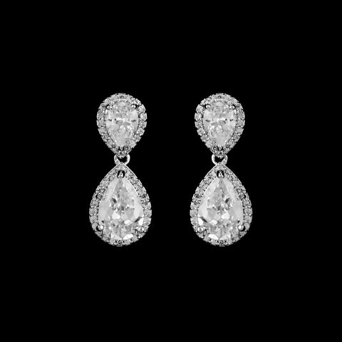 CZ Teardrop Dangle Earrings JS-2621
