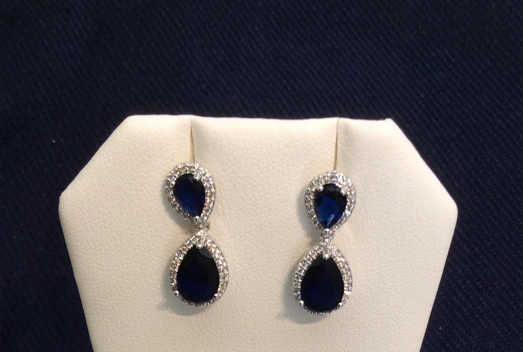 Sapphire Cubic Zirconia Dangle Earrings JS-2621