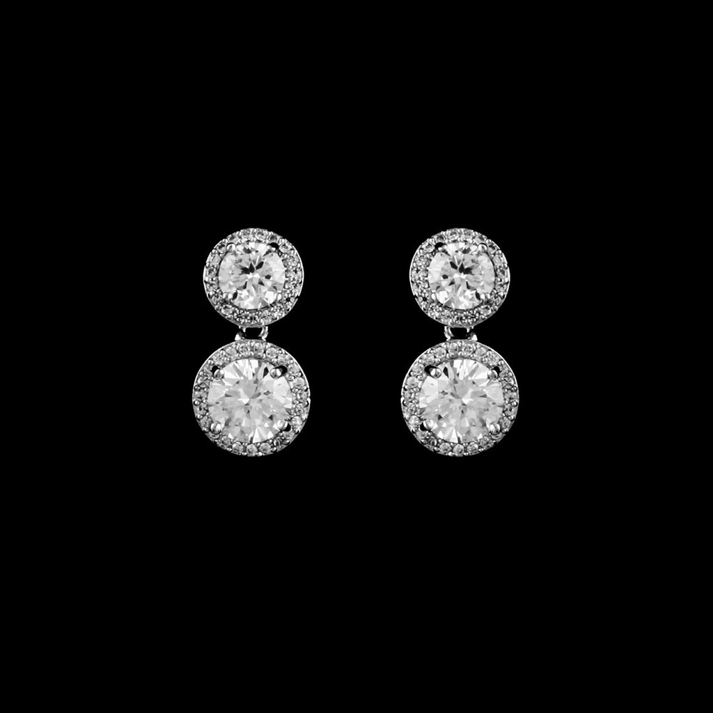 CZ round dangle earrings JS-2631