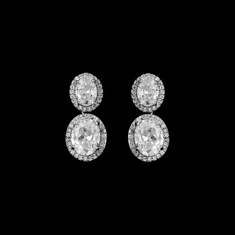 CZ Oval Dangle Earrings JS-2611