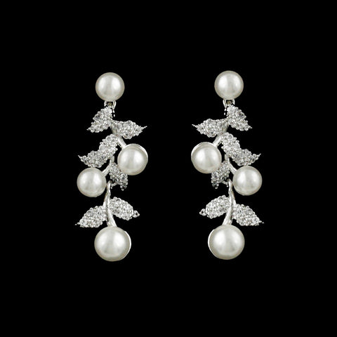 CZ Leaf and Pearl Earrings JS-418