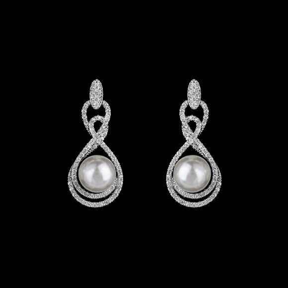 CZ and Pearl Dangle Earrings ME-4238C