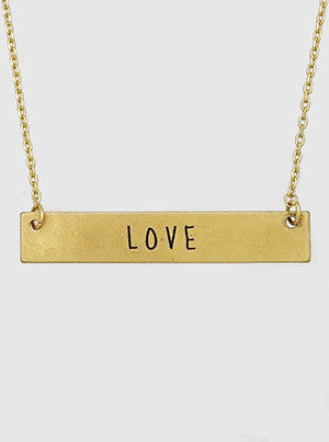 Love Engraved Metal Bar Delicate Necklace