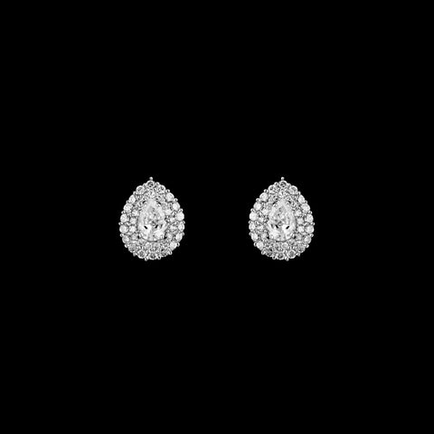 CZ Pear Pave Stud Earrings ME-001