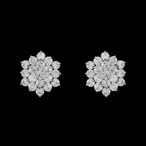 CZ cluster clip on earrings ME-0036
