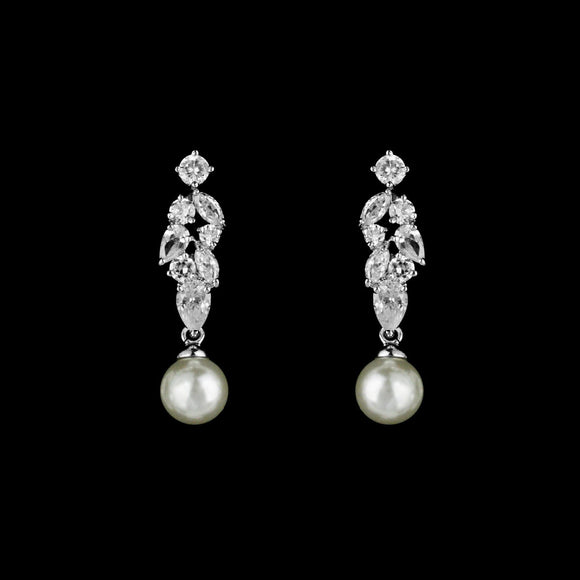 CZ Cluster and Pearl Dangle Earrings ME-0403