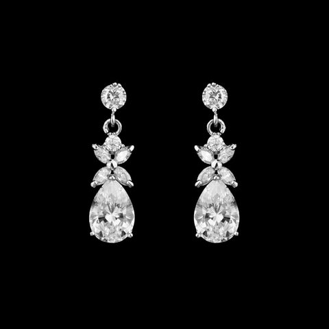 CZ Pear Dangle Earrings ME-05421