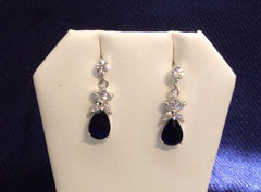 Sapphire Cubic Zirconia Dangle Earrings ME-05421