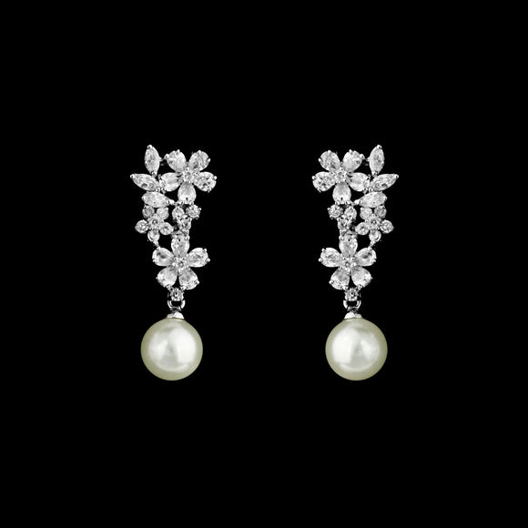CZ Flower and Pearl Clip On Earrings ME-1296C