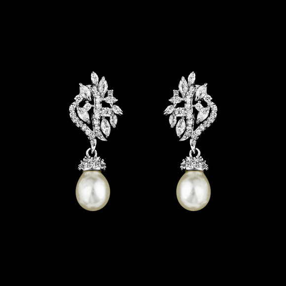 CZ and Pearl Dangle Earrings ME-1597