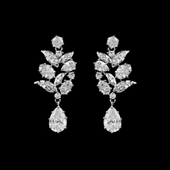 CZ Cluster Dangle Earrings ME-2261