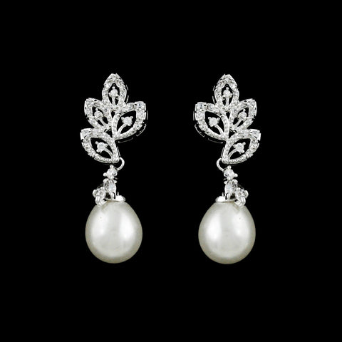 CZ Leaf and Pearl Dangle Earrings ME-2668