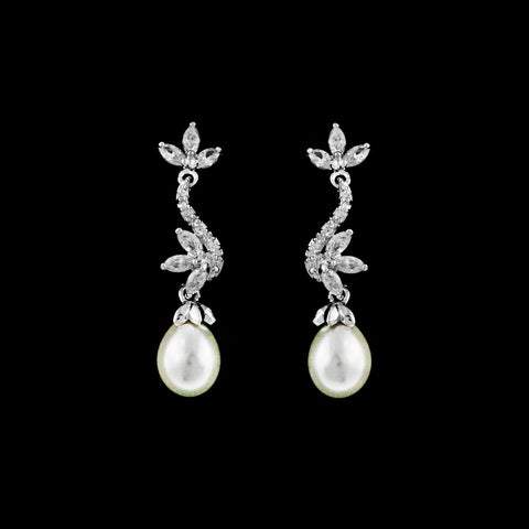 CZ Floral and Pearl Dangle Earrings ME-2708