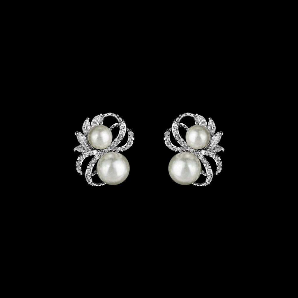 CZ and Pearl Stud Earrings ME-2900