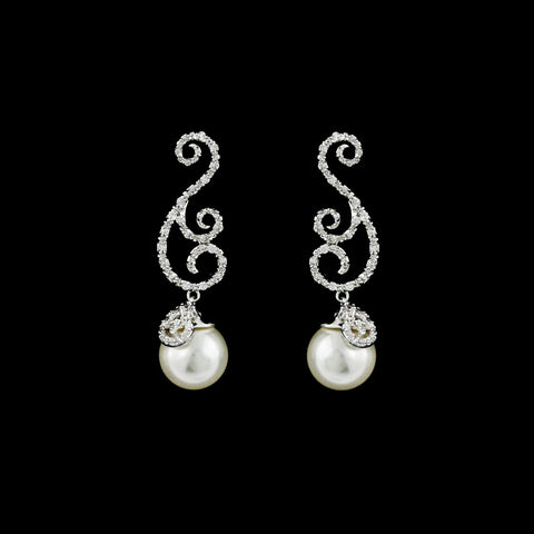 CZ Filigree Swirl and Pearl Dangle Earrings ME-3102