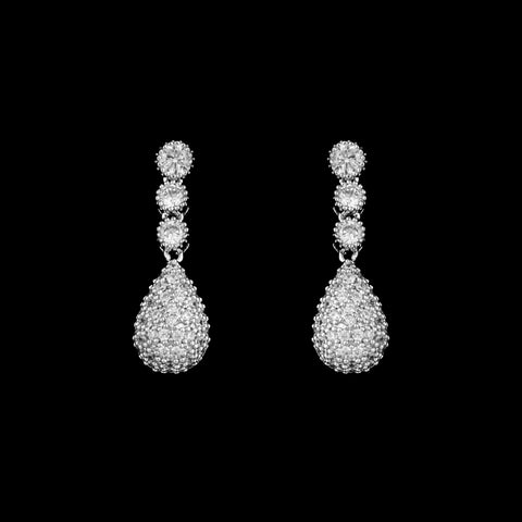 CZ Pave Drop Earrings ME-3301