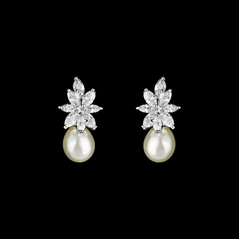 CZ flower and pearl earrings ME-343