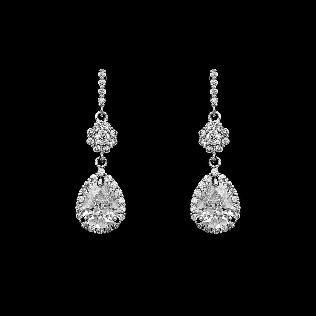 CZ dainty pear drop earrings ME-3601