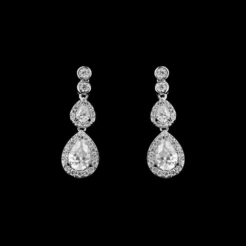 CZ Teardrop Dangle Earrings ME-3780