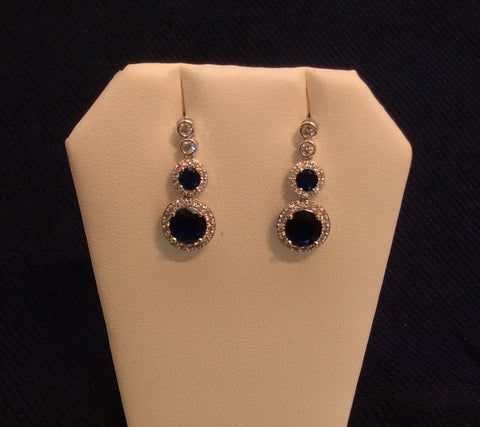 Sapphire Cubic Zirconia Dangle Earrings ME-3781