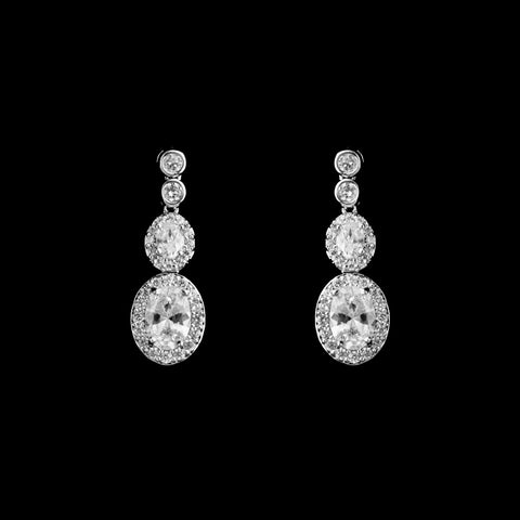 CZ Oval Halo Dangle Earrings ME-3782