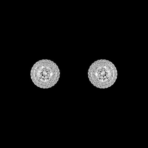 CZ Pave Round Stud Earrings ME-38081