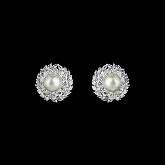 CZ and Pearl Stud Earrings ME-39311