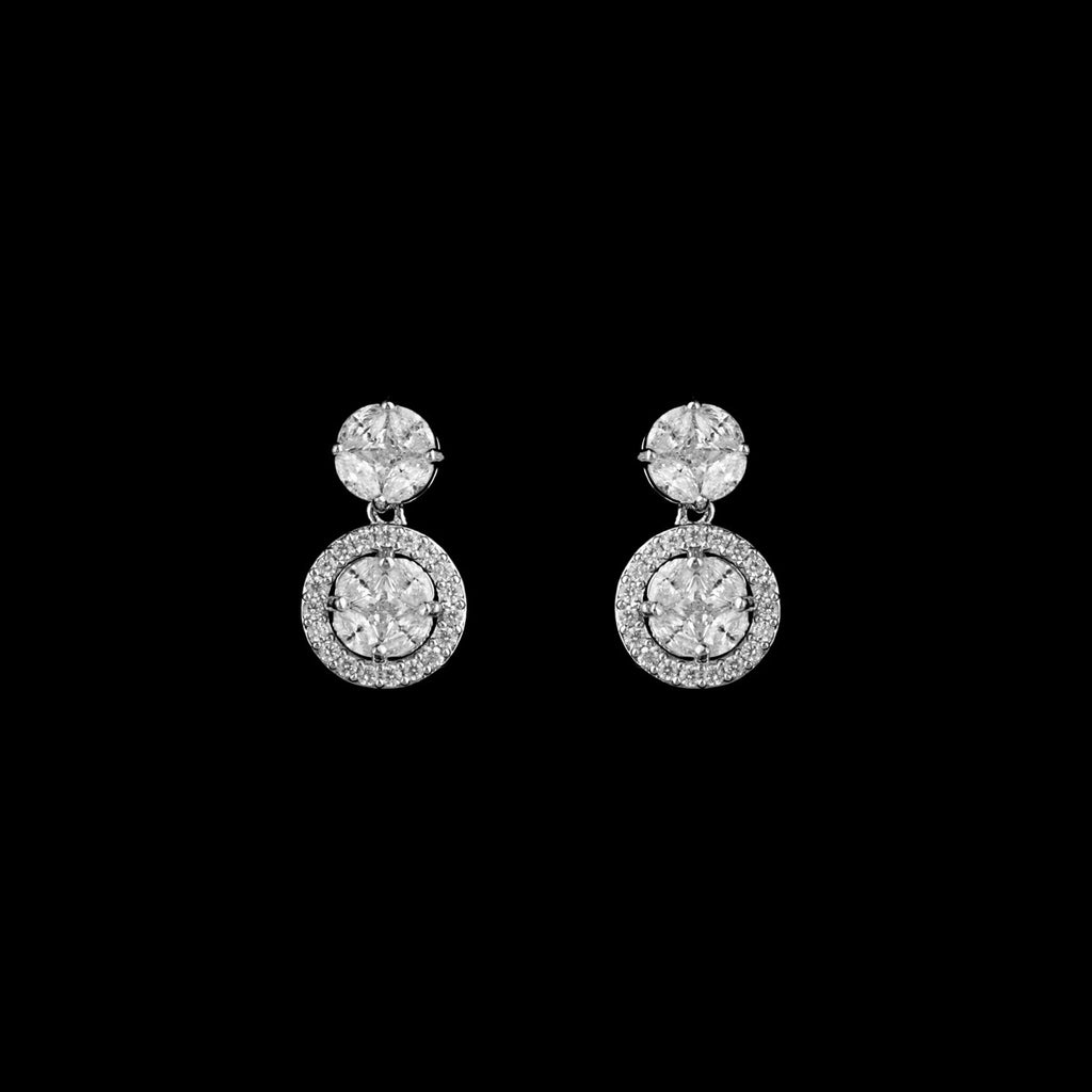 CZ Round Drop Earrings ME-3964