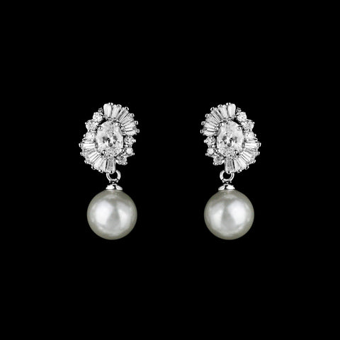 CZ and pearl Clip-on Earrings E-4136