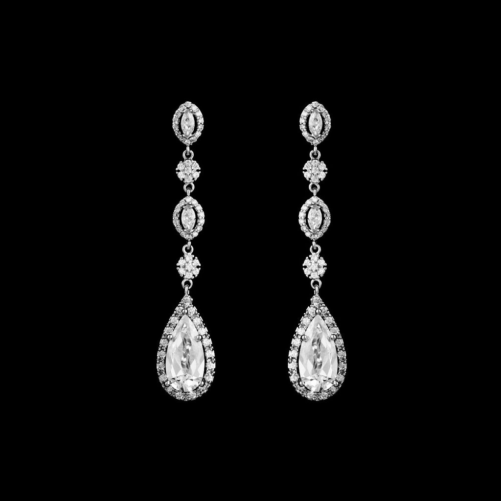 CZ Teardrop Dangle Earrings ME-4168C