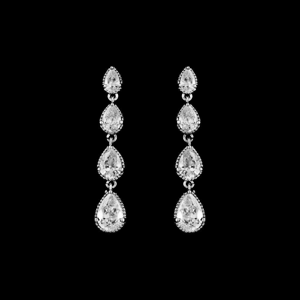 CZ Pear Drop Earrings ME-4282