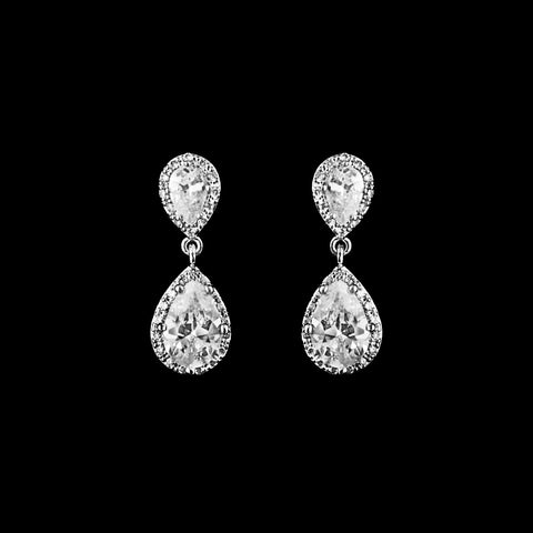 CZ Teardrop Dangle Earrings ME-4307