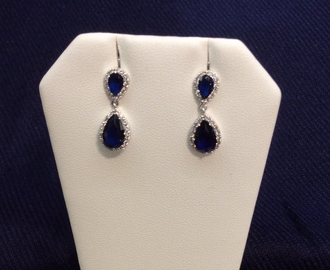 Sapphire Cubic Zirconia Dangle Earrings ME-4307