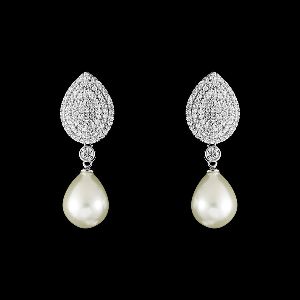 CZ Pave and Pearl Earrings ME-4351