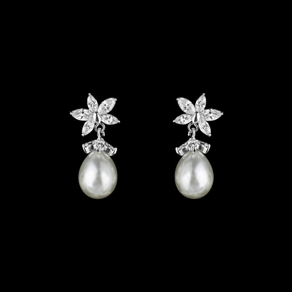 CZ Flower and Freshwater Pearl Earrings ME-654
