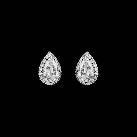 CZ Pear Halo Earrings ME-6590