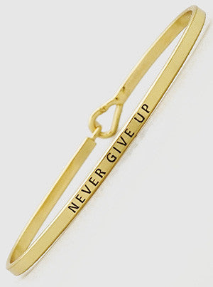 Never Give Up Engraved Bracelet