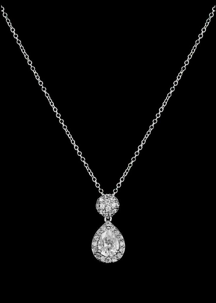 CZ Round and Teardrop Pendant Necklace P-0467