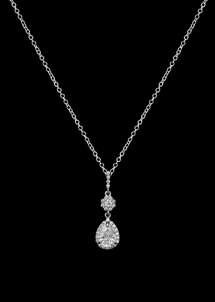 CZ Teardrop Pendant Necklace P-3601