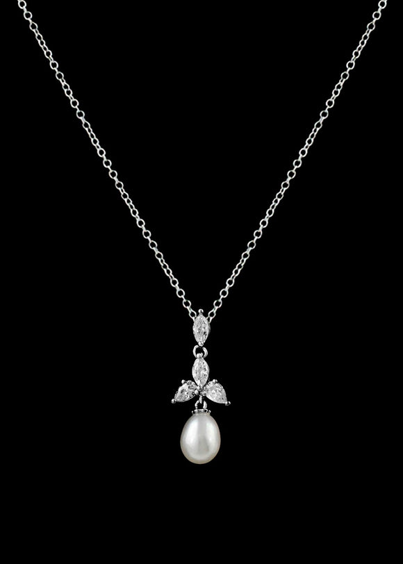 CZ and Freshwater Pearl Pendant Necklace P-346