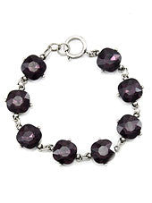 Purple Crystals, Burnt Silver Tone Metal Hook Bracelet