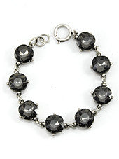 Grey Crystals, Burnt Silver Tone Metal Hook Bracelet