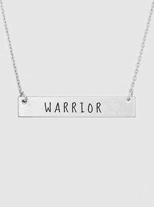 Warrior Engraved Metal Bar Delicate Necklace 61-N4216-WS