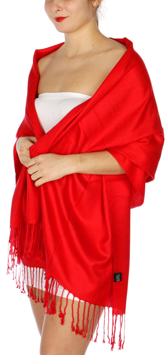 D45 Silky Solid Wedding Pashmina 04 Red IS0004