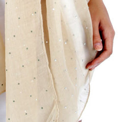 Solid crystal fixed shawl Beige PO656-7