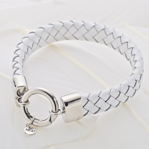 White Leather Wide Bracelet