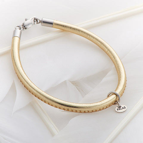 Gold Leather Fine Bracelet