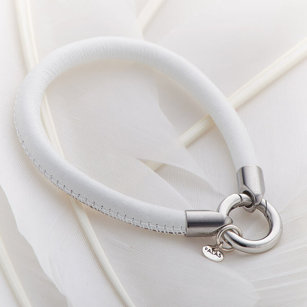 White Leather Ring Clasp Bracelet