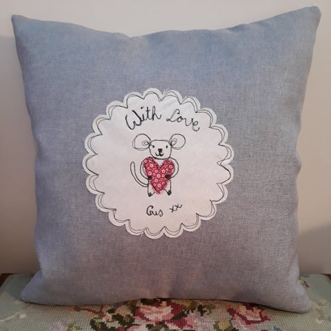 """Augusta"" Mouse ~ Cushion cover & insert (& free Augusta Mouse Mini Friend)"