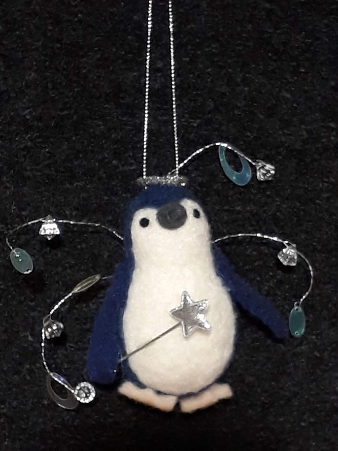 Little Blue Penguin~ Christmas Fairy~ hanging ornament